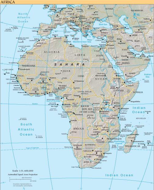 MAPA FÍSICO DE ÁFRICA.