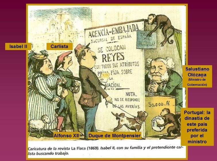 Caricatura respecto a la sucesión monárquica en la España de la época (1869). Isabel II de España aparece con un chiquillo, el futuro Alfonso XII. También lee el anuncio un carlista, con la boina roja.