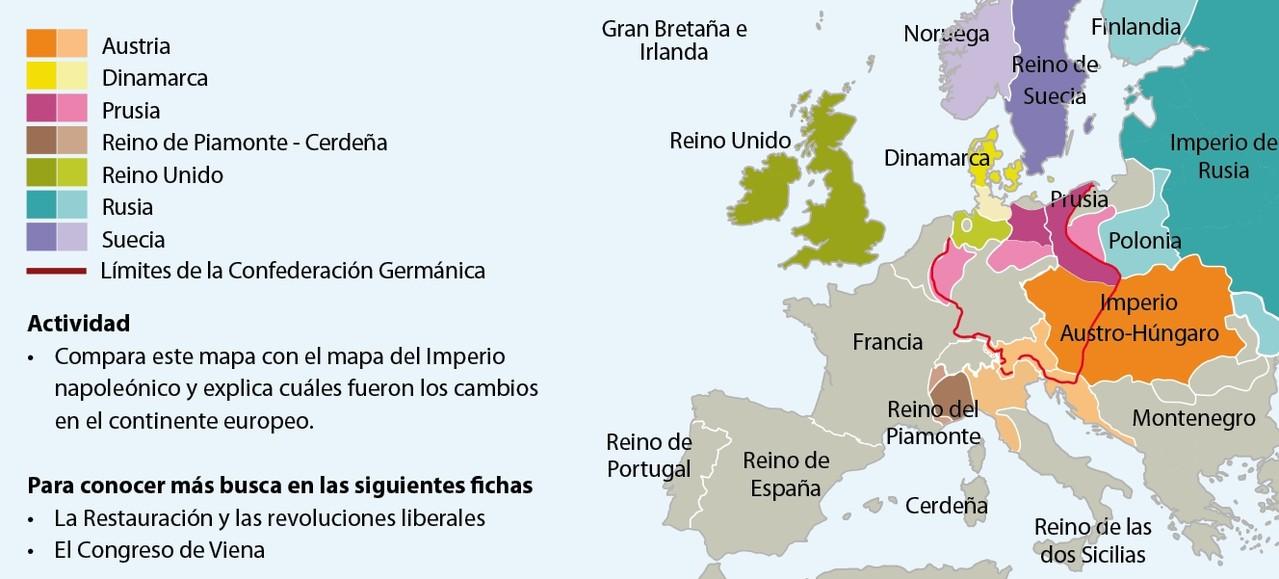 Mapa del Congreso de Viena.