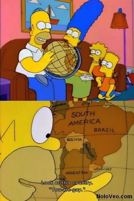 """Homer Simpson y su visión """"particular"""" de la Geografía."""