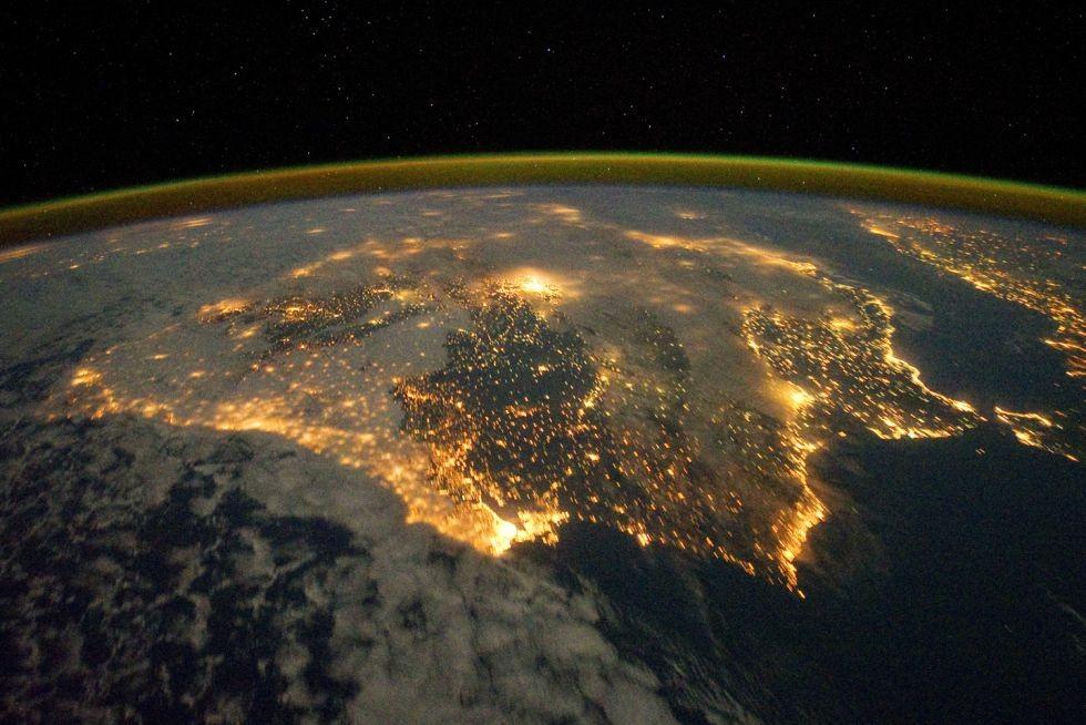 La península Ibérica desde el aire (20 de enero de 2015).