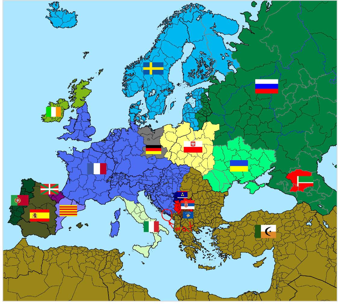Singular mapa de Europa según los americanos.