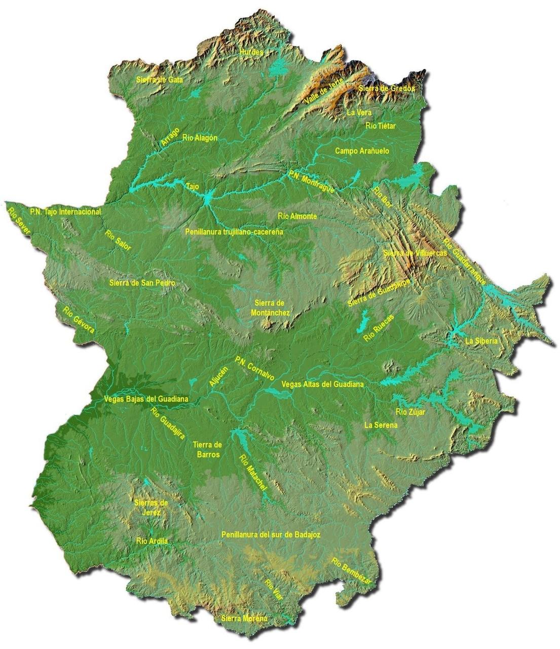 Mapa de Extremadura de la unidades del relieve, ríos y Parques Naturales.