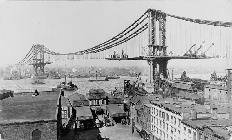 Construcción del puente de Mnahattan (1909)