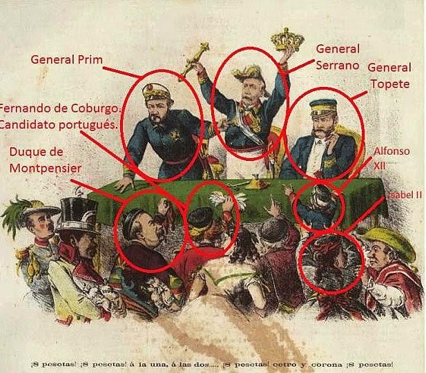 La subasta de la Corona entre Prim, el almirante Topete y Castelar.