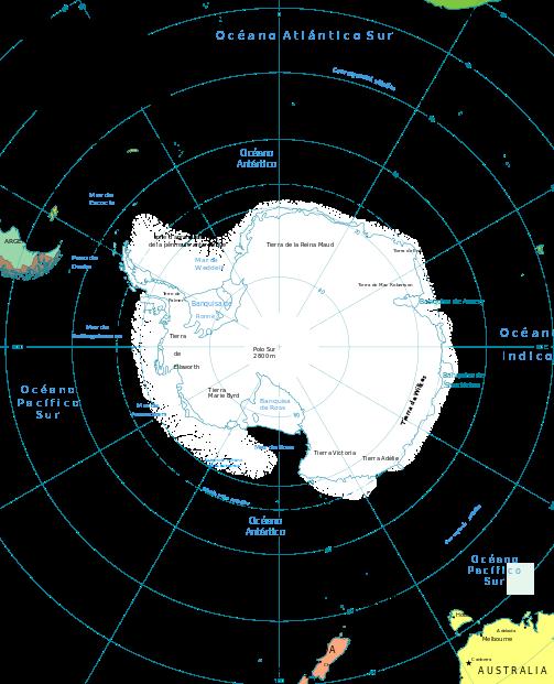 Mapa de la Antártida.