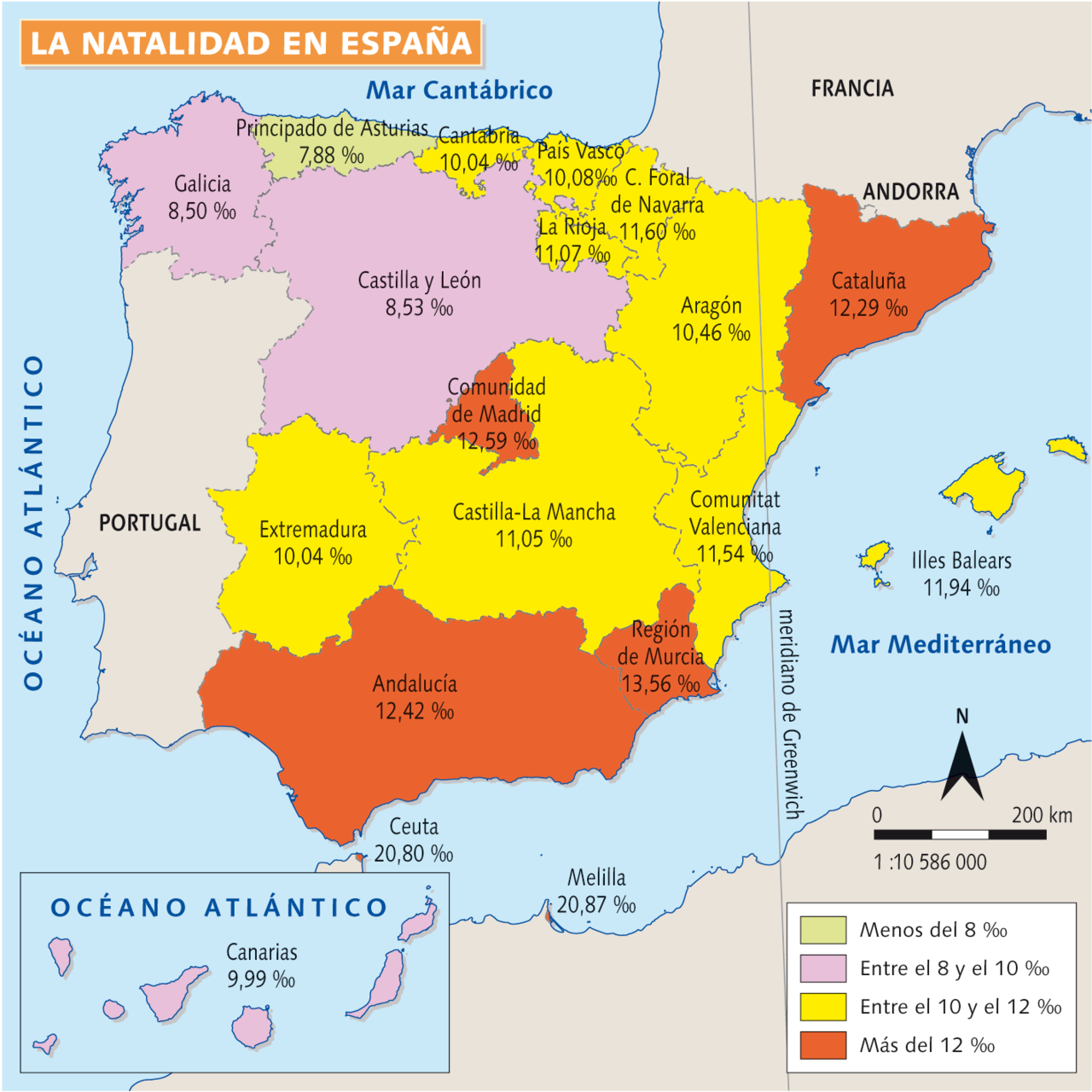 Mapa de la natalidad en España.