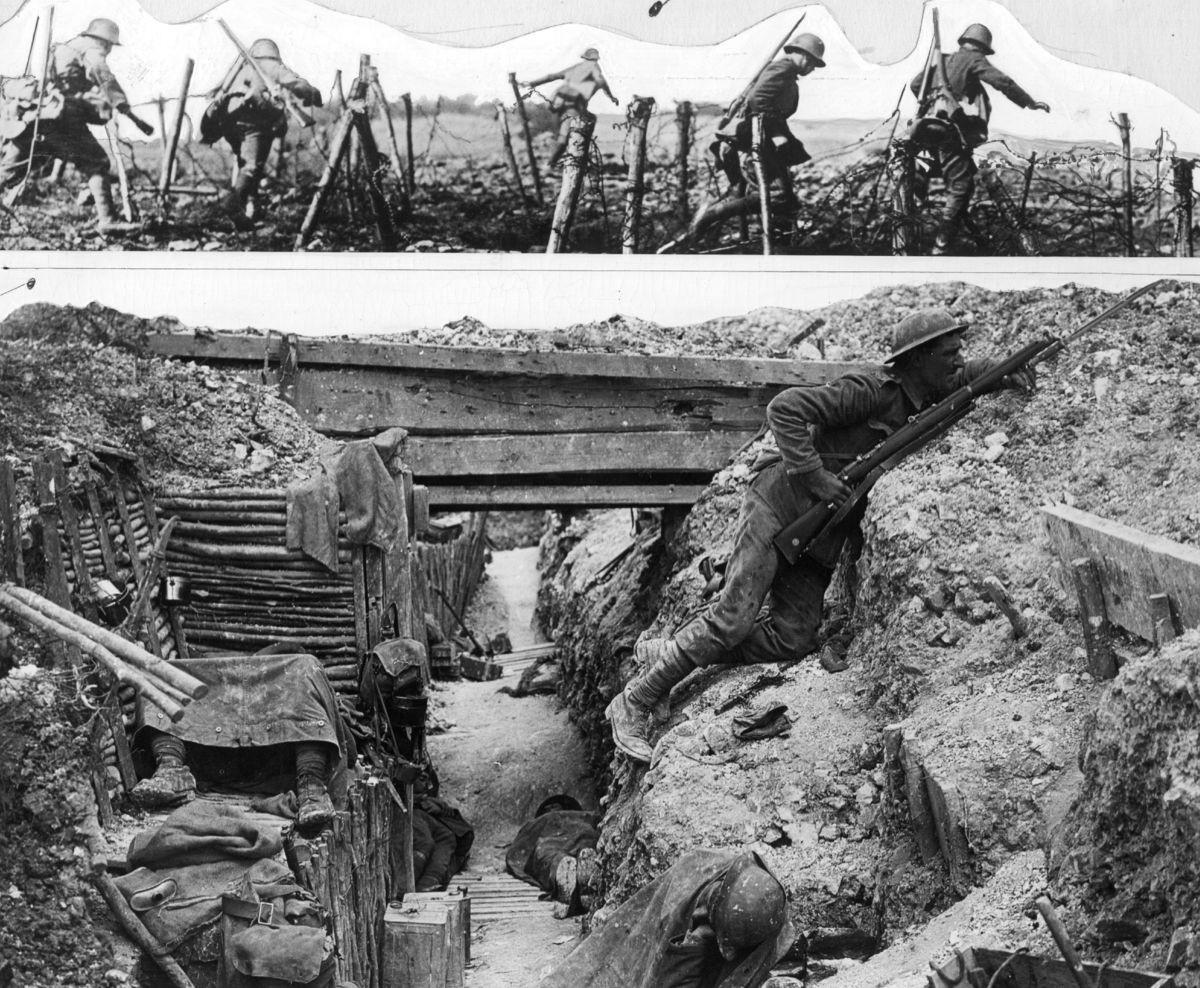 Dos imágenes: soldados alemanes y británicos...