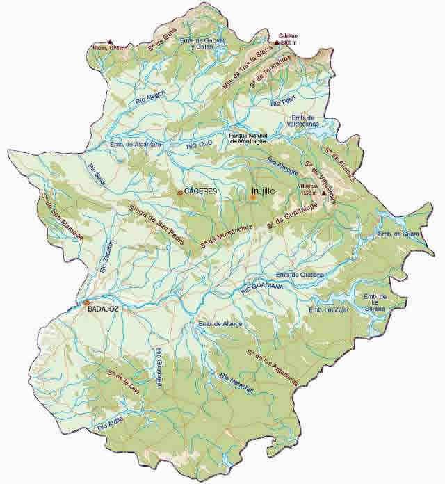 MAPA FÍSICO DE EXTREMADURA Relieve y ríos.
