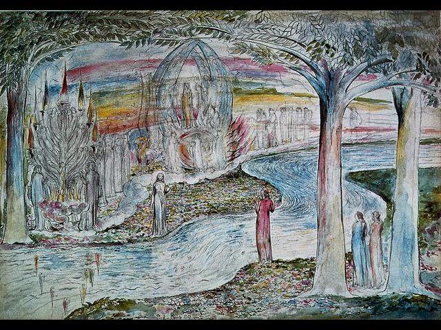 William Blake. Beatriz, Matilde y Dante.