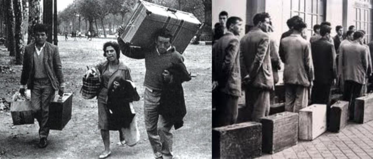 Emigrantes españoles con las maletas a cuestas...