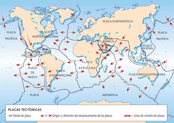 Mapa de las placas continentales 2