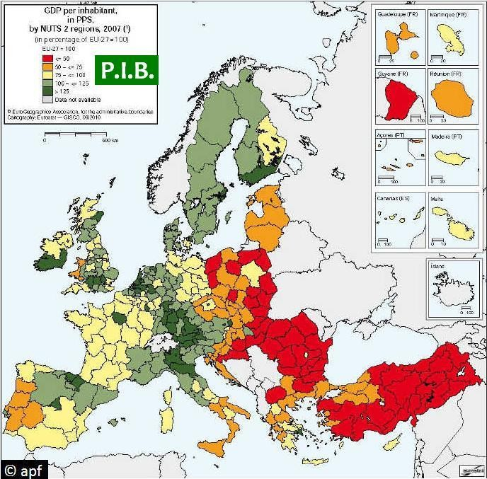 P.I.B. regional en Europa (2007).