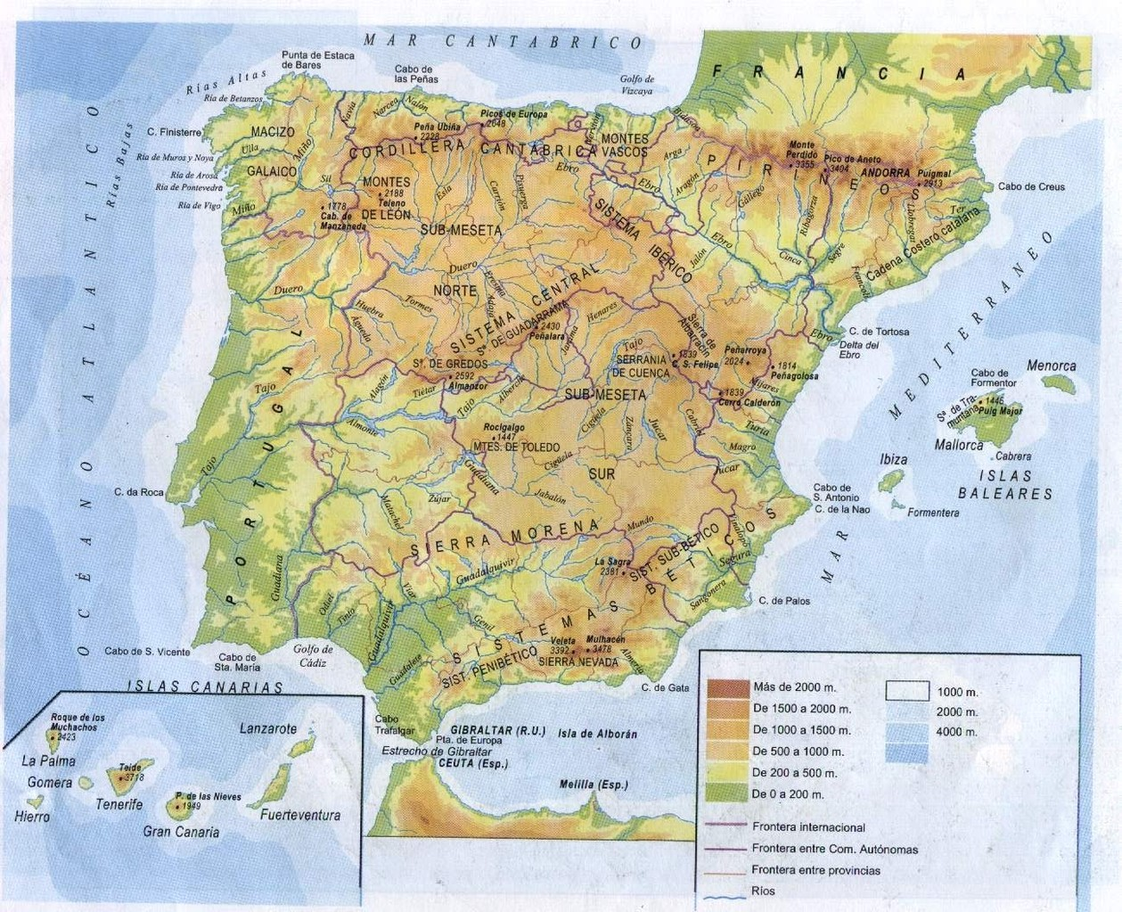 MAPA DEL RELIEVE PENINSULAR II