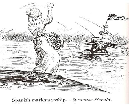 """La pérdida de las últimas colonias españolas...La """"artillería"""" española se enfrenta la poderío yanqui."""