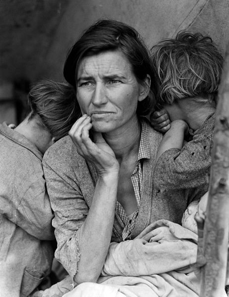 Mujer emigrante a California.