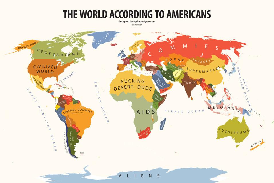 Mapamundi desde los EE.UU.