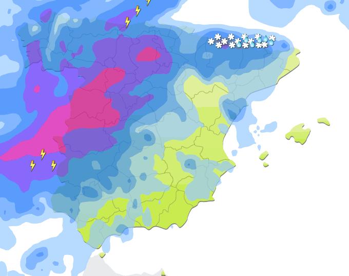 Mapa de precipitaciones sobre España a las 19 h. de 24 de diciembre de 2013.