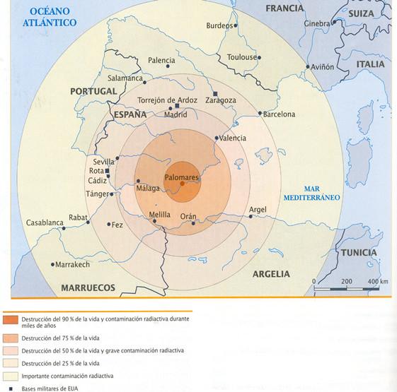 Mapa del impacto de Palomares.