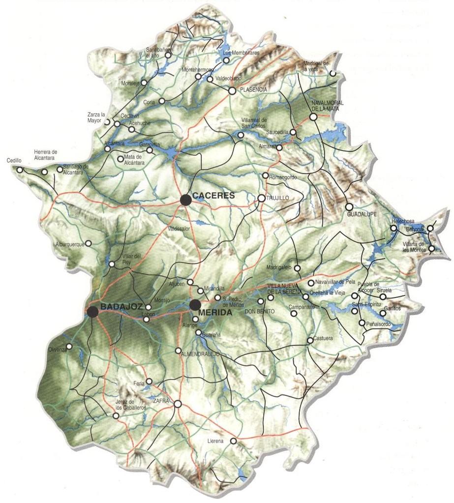 Mapa físico de Extremadura.