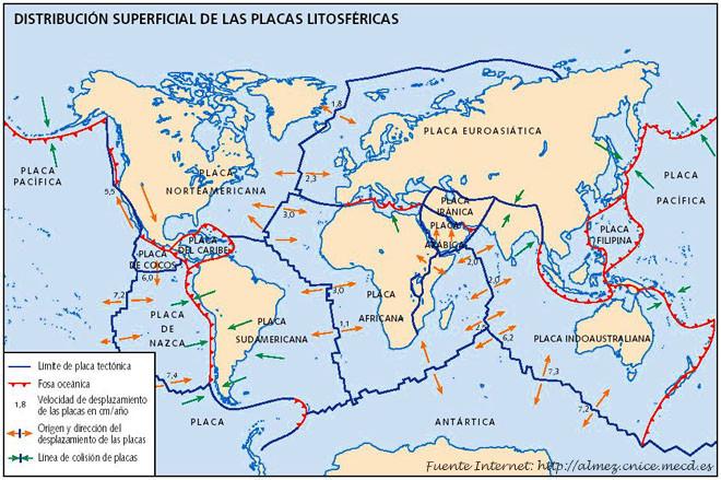 Mapa de las placas continentales 1