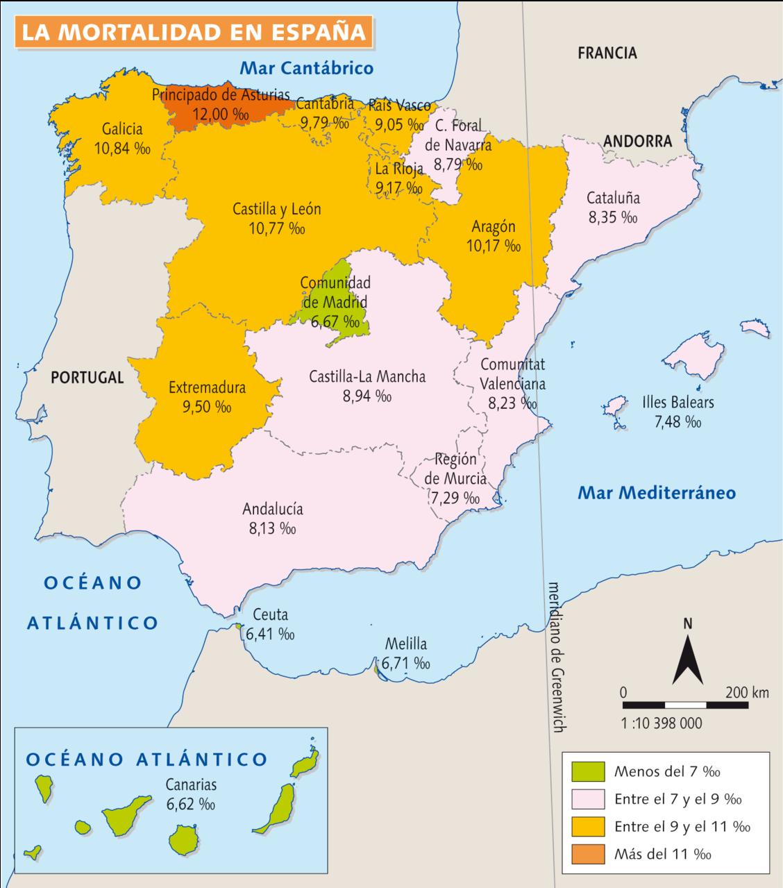 Mapa de la mortalidad en España.