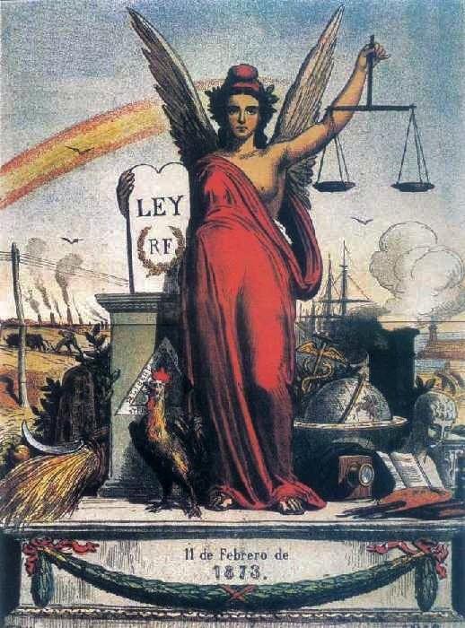 Alegoría de la I República Española (1873-74).Alegoría de La Niña Bonita sobre la I República Española, al estilo de la Marianne francesa.