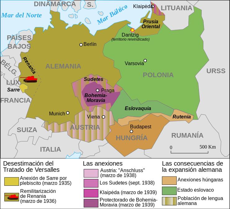 Mapa de la ocupación alemana de 1933-39