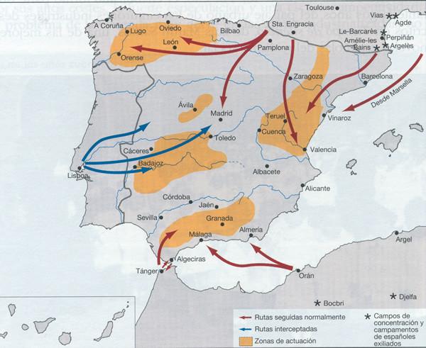 Mapa de las rutas de los maquis.