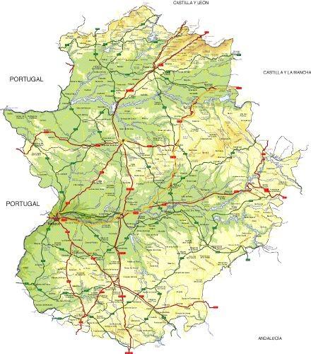 Mapa de límites políticos y altitud de Extremadura.