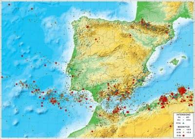 Mapa de riesgo sísmico en la P. Ibérica.