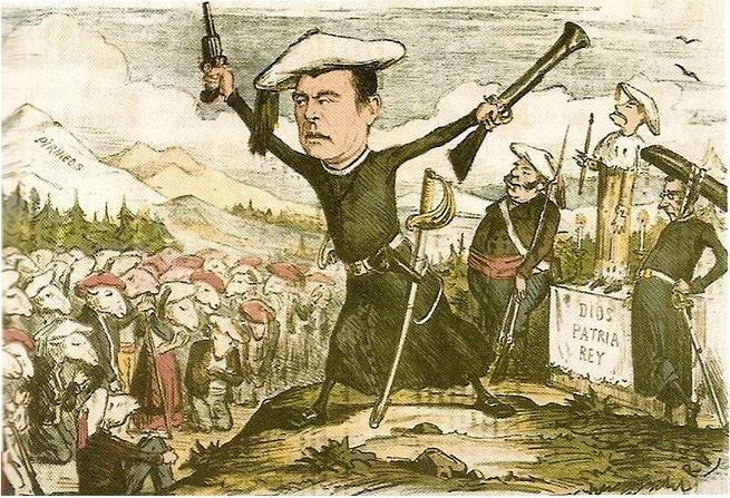 Caricatura del Carlismo, personajes e ideales. La Primera República hubo de hacer frente a inicios de las terceras Guerras Carlistas.