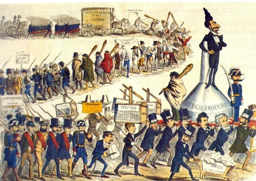 Caricatura sobre el Caciquismo y el Fraude electoral.