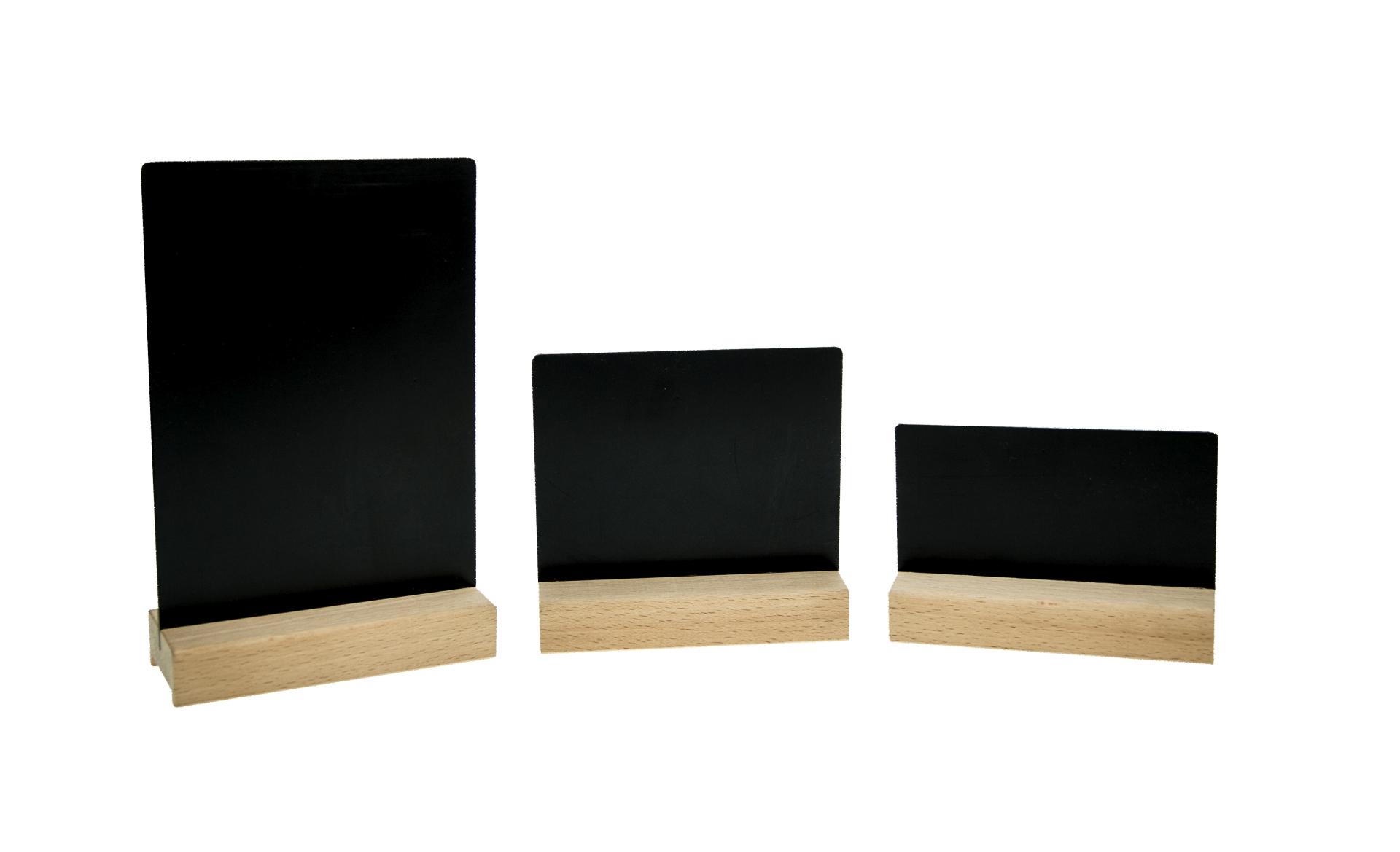 Tafelhalter Buche mit schwarzer Kreidetafel, 3 verschiedene Größen