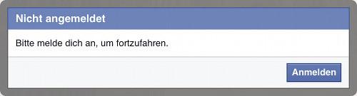 Facebook-Anmeldehinweis