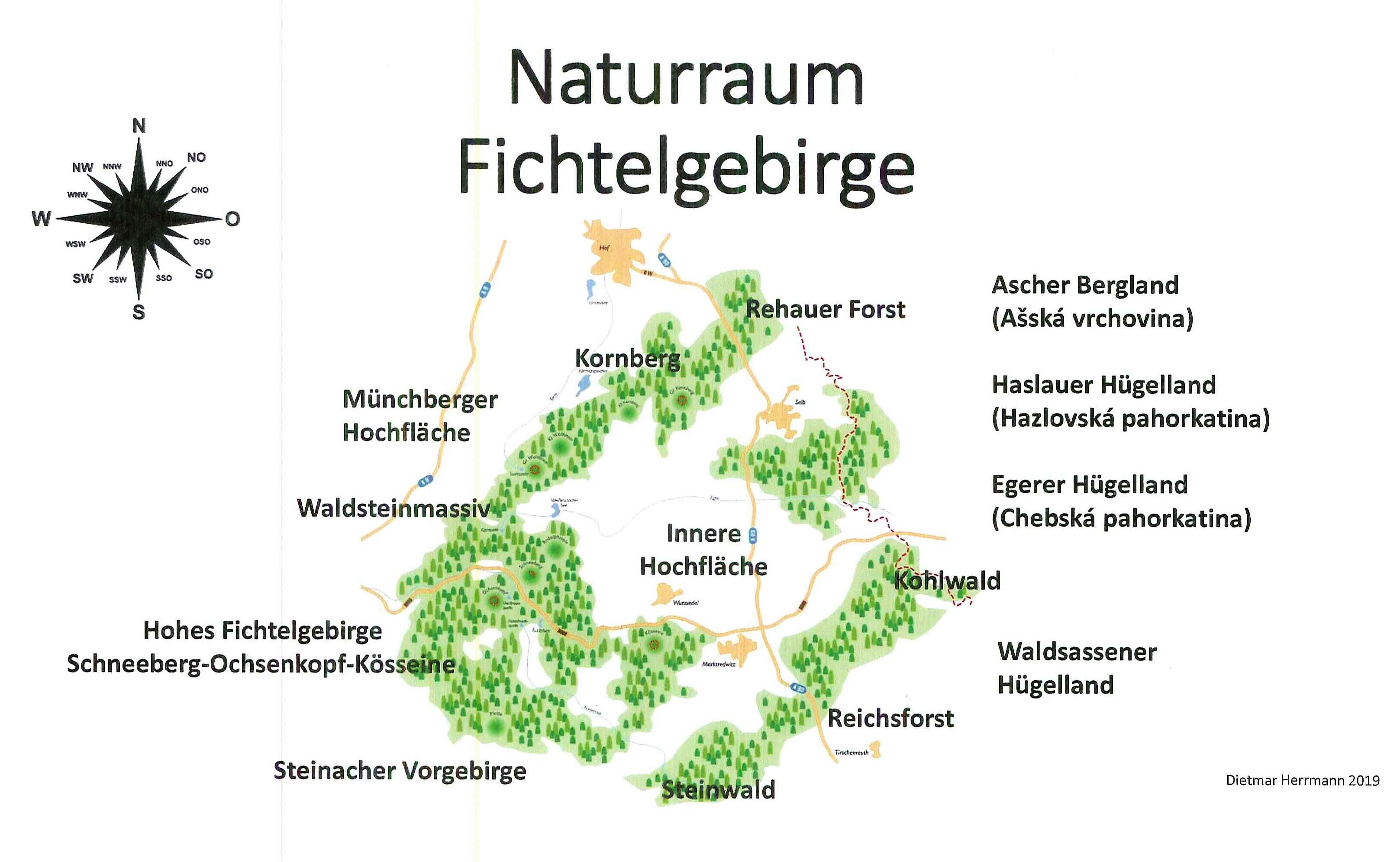 Das Fichtelgebirge in Nordostbayern - ein Gebirge in Hufeisenform.