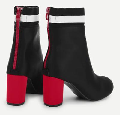 botines combinados, botines rojos, botines a la moda, comprar botines on line, tendencias botines 2019, cuarenta y algo, mas de 40, cuarentonas a la moda, cuarentonas felices, outfits botines