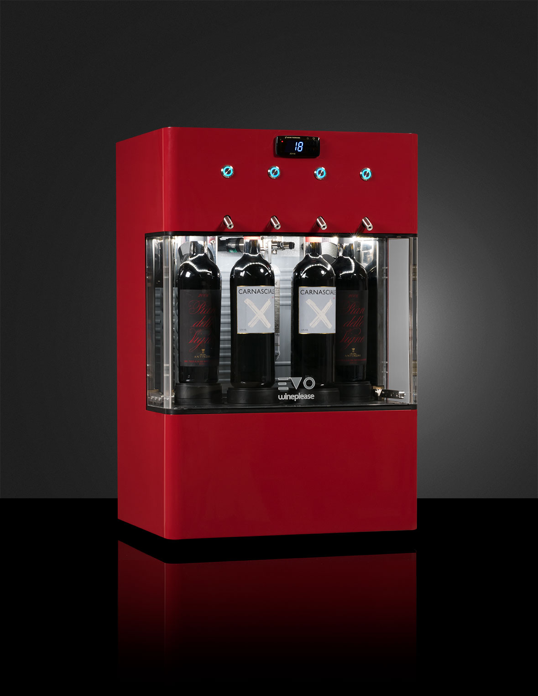 EVO enodipsenser supercompatto da 4 bottiglie, refrigerato monotemperatura  per vini sia rossi che bianchi con bombola a bordo macchina. A partire da € 64,00 al mes