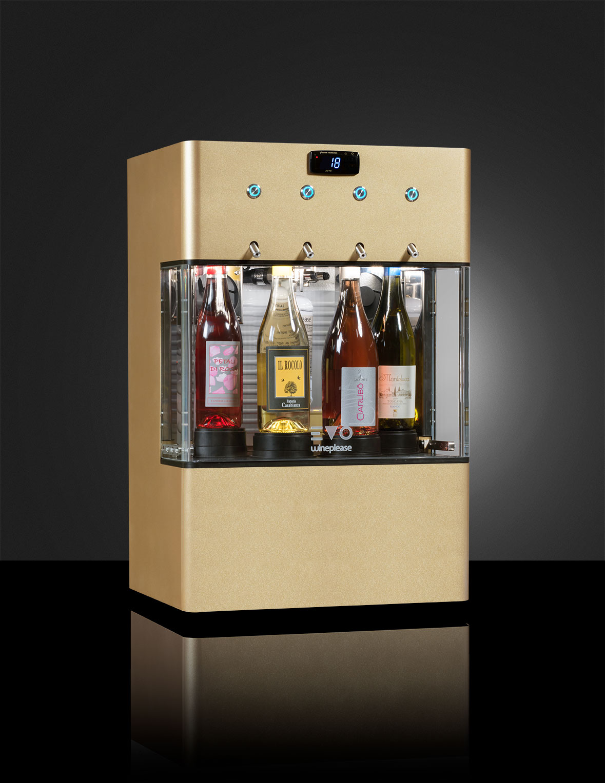 EVO enodipsenser supercompatto da 4 bottiglie, refrigerato monotemperatura  per vini sia rossi che bianchi con bombola a bordo macchina.  Apartire da € 64,00 al mes
