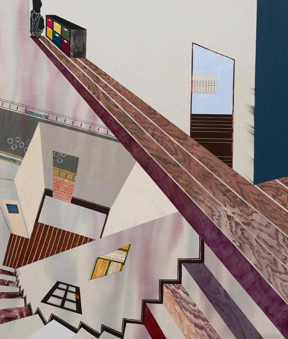 家の階段,幼少期/1300×1100mm/綿布にアクリル絵具、油彩、水晶/2015-2016/撮影:怡土鉄夫