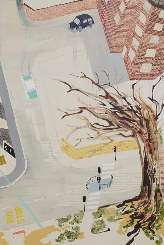 Near the Phoenix halls/1905×1305mm/綿布に油彩と鉛筆/2012/撮影:怡土鉄夫
