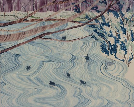 Blue pond/1300×1620mm/綿布に油彩と鉛筆/2010