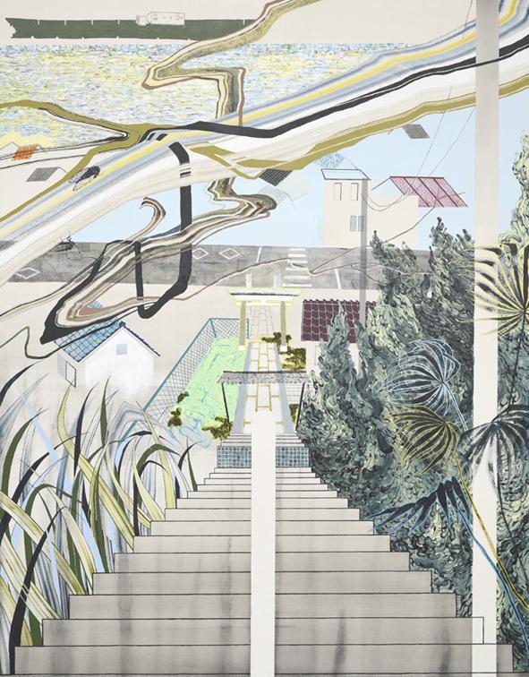 階段上から見下ろす亀崎,2015/1400×1100mm/綿布にアクリル絵具、鉛筆、水晶、パステル、牡蠣殻/2016/撮影:怡土鉄夫