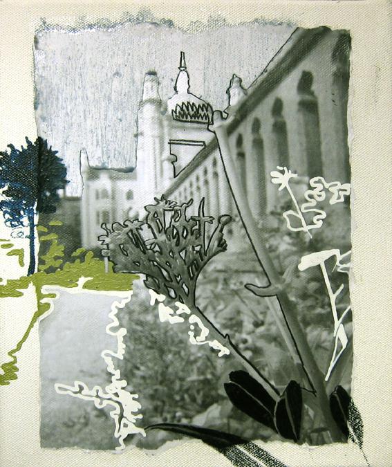 "Drawing""The park Ⅱ""300×250mm/綿布にインクジェットプリント、色鉛筆、油彩、修正液/2013/撮影:怡土鉄夫"