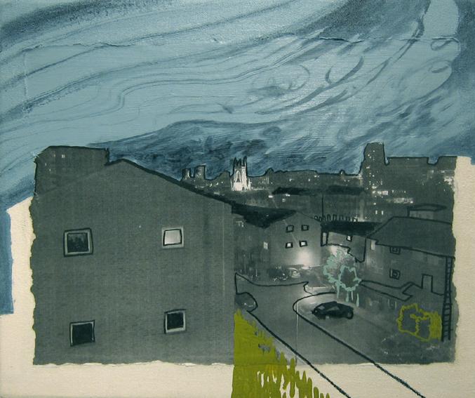 "Drawing""The night view in Brighton""/250×300mm/綿布にインクジェットプリント、油彩、色鉛筆/2013/撮影:怡土鉄夫"