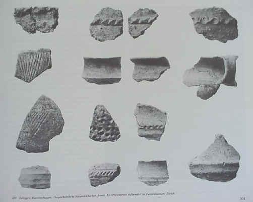 Keramik Fundstücke (mittel-bronzezeitliche Höhensiedlung auf dem Kasteltschuggen) (kantonales archeologisches Museum in  Sion)