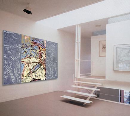 Création murale en granit et tapisserie d'Aubusson