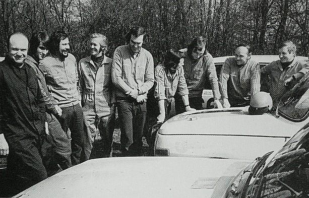 v.l.n.r. Rudi Pfeiffer, Winfried Heitzmann, Werner Ernst, Harald Würfel, Bernd Malsch, Horst Niebergall, Roland Weitz, Egon Culmbacher und Bernd Frommann (Quelle: Ihling)