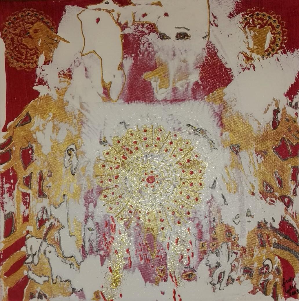 12. Das Feuerelement, Acryl auf Leinwand, Grösse 40 x 40 cm