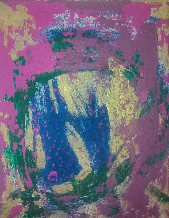 4. Die Engel kommen auf die Erde, Acryl auf Leinwand, Grösse 40 x 50 cm